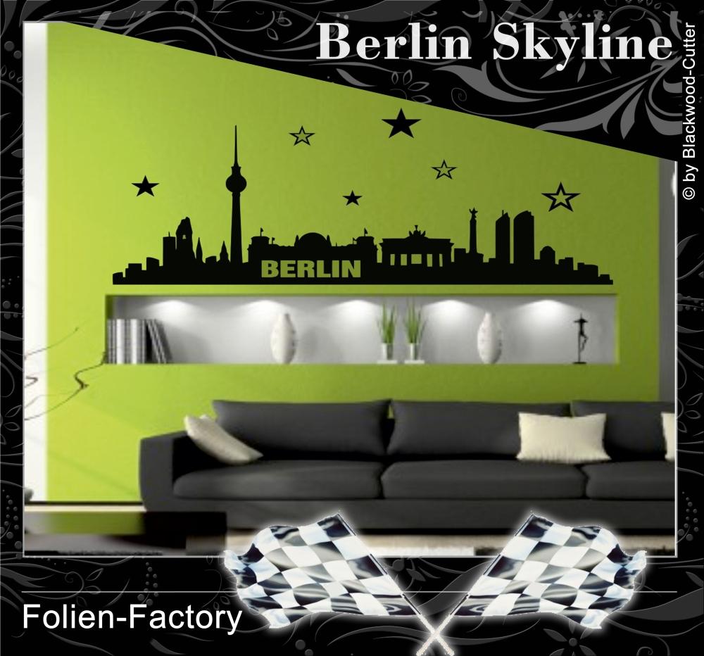 folien factory shop berlin skyline aufkleber wandtattoo. Black Bedroom Furniture Sets. Home Design Ideas